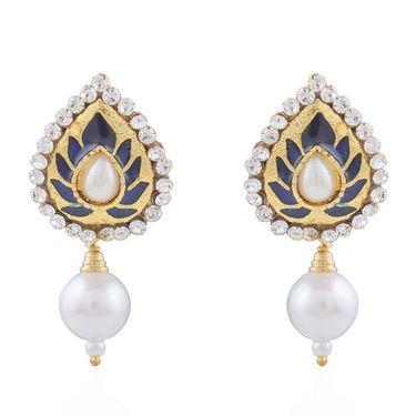 Variation Blue Meenakari Party Wear Pearl Fashion Earring Women_Vd14341