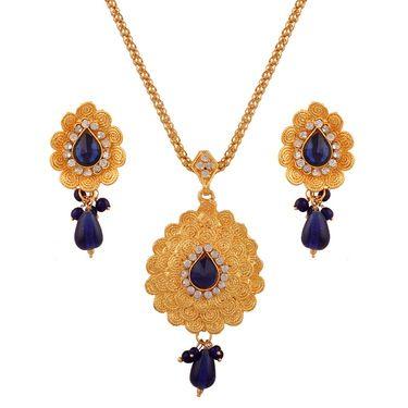 Variation Dark Blue Flower Designer Gold Plated Chain Pendant Set_Vd15755