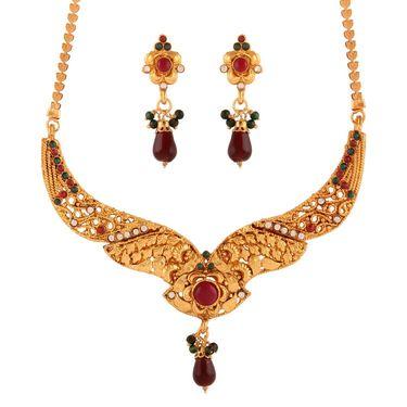 Variation Multi Gold Party Wear Necklace Set_Vd15928