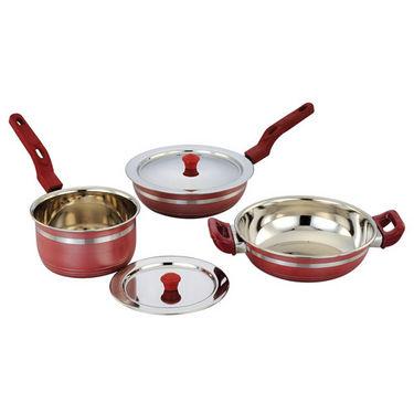Klassic Vimal 5 Pcs Induction Cookware Set - Cherry Red