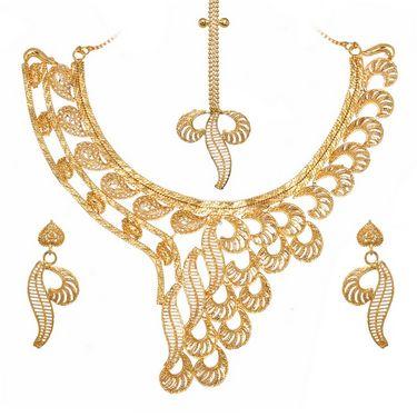 Vendee Fashion Bridal Gold Leaves Strings Necklace Set - Golden - 8338