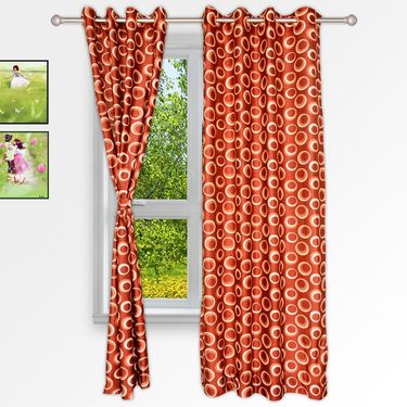 Story @ Home Orange 2 pc Window curtain-5 feet-WNR2023