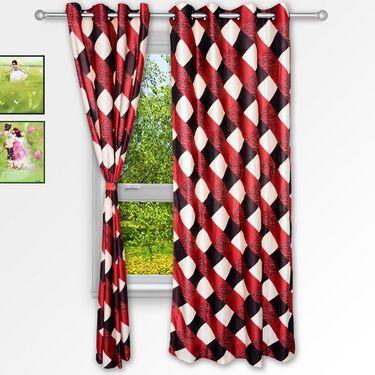 Story @ Home Maroon 2 pc Window curtain-5 feet-WNR3011