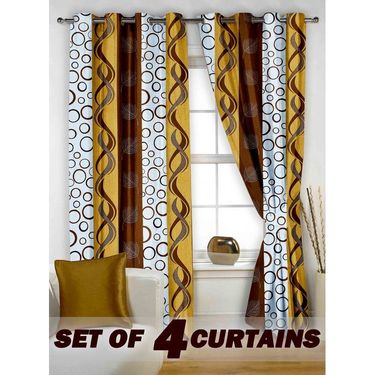 Set of 4 Printed Window curtain-5 feet-WNR_2_2008