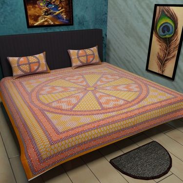 Manukunj Double Bedsheet With 2 Pillow Covers-WORLD16