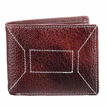 Walletsnbags NDM Stitch Leather Wallet - Brown_W 11 - BR