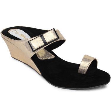 Do Bhai Faux Leather Womens Sandals-450-Golden