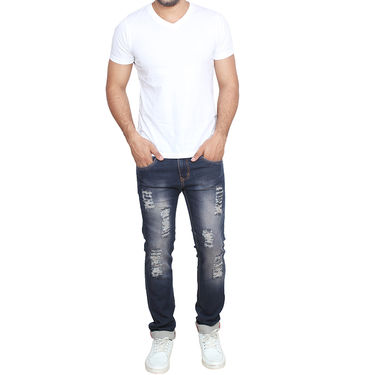 Branded Rugged Slim Fit Stretchable Jeans For Men_Wg - Blue