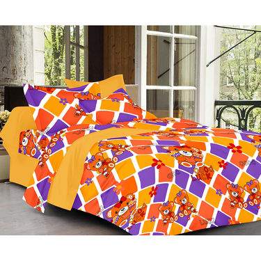 Valtellina Cartoon With Stripes Design  Brown Color Double bedsheet With 2 Pillow cover