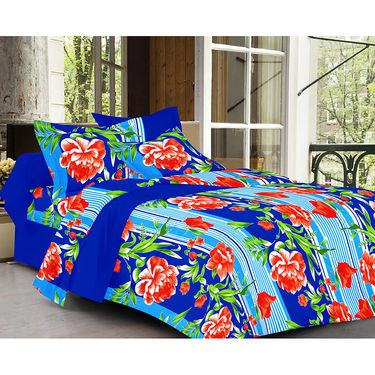 Valtellina Floral Design Blue Color  Stripes Double bedsheet With 2 Pillow cover