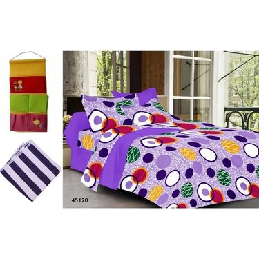 Combo of Valtellina Double Bedsheet + 2 Pillow Cover + 1 Bath Towel & 1 Hanging Bag_Ytd067