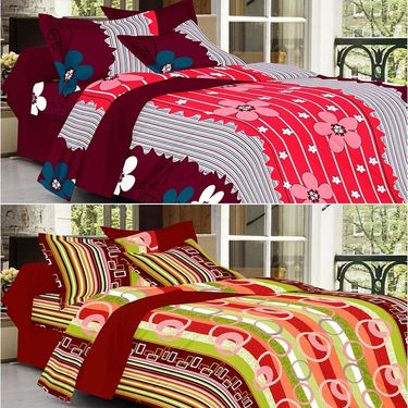 Valtellina Combo of 2 Double Bed Sheets with 4 Pillow Covers-YTD_C2_36_54