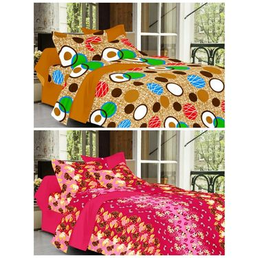 valtellina Set of 2 Double Bed Sheets with 2 Pillow Covers-Y_070-073