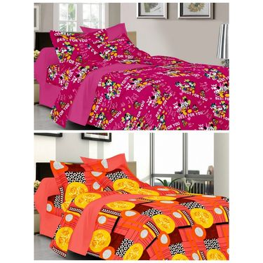 valtellina Set of 2 Double Bed Sheets with 2 Pillow Covers-Y_100-102