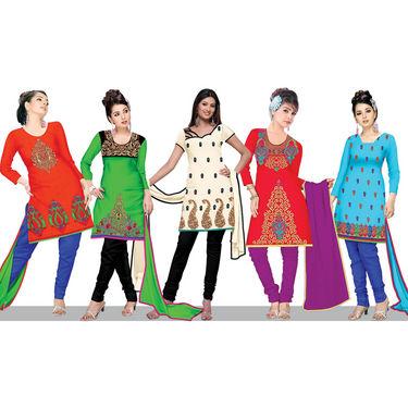 Set of 5 Embroidered Chanderi Art Silk Dress Material (5CS1)