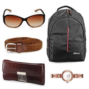 Combo of Oleva Watch + 1 Sunglass + 1 Belt + 1 Clutch + 1 Laptop Bag_Ovd0001