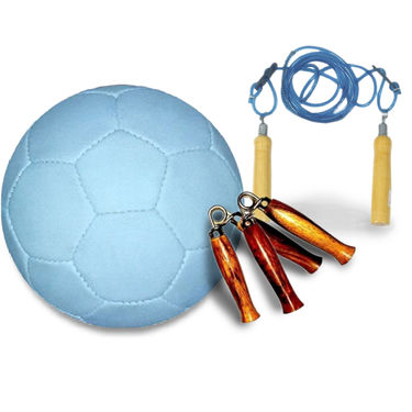 White (1221) Rubberized Football Size 5 with Skipping Rope, Gripper