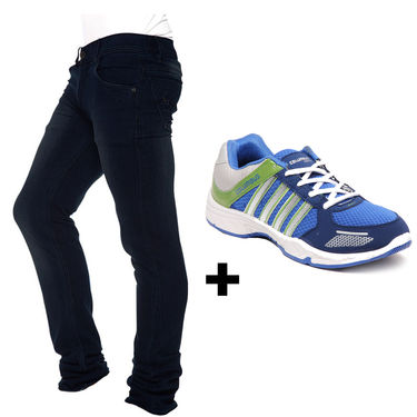Combo of Stylish Designer Jeans + Columbus Sports Shoes - Blue & Green
