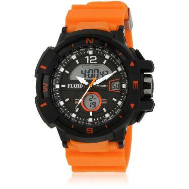 Fluid Analog & Digital Round Dial Watch For Unisex_d09or01 - Black & Orange