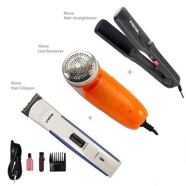 Nova Pack of 3 - Hair Straightener, Clipper, Lint Remover