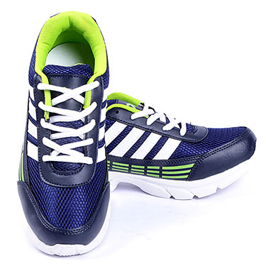 Foot n Style Synthetic Leather Sports Shoes  FS439 - Navy Blue & Green