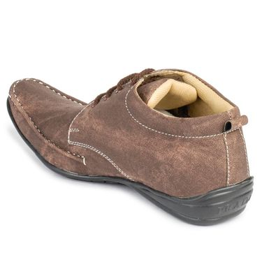 Foot n Style Nubuck Leather Brown Casual Shoes -fs3029