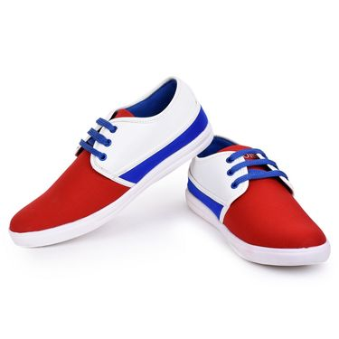 Foot n Style Red & White Sneakers Shoes -Fs3145