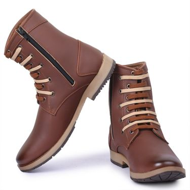 Foot n Style  Faux Leather Brown Boots -Fs4006
