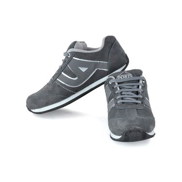 Foot n Style Synthetic Leather Sports Shoes FS 483 -Grey