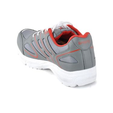 Foot n Style Synthetic Leather Sports Shoes FS 489 -Grey & Red