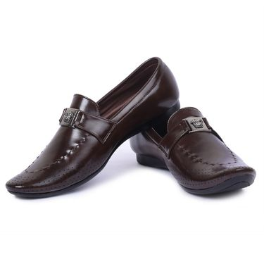 Foot n Style Leather Brown Loafers Shoes -Fs5002