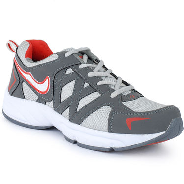 Foot n Style Synthetic Leather Sports Shoes FS 527 -Grey & White