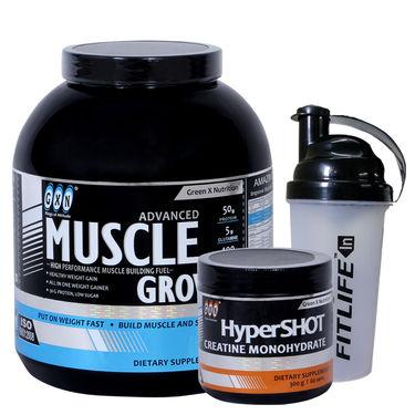 Gxn Advance Muscle Grow, 4 Lb ( 1.18Kgs ) Vanilla + Gxn Hyper Shot 300g