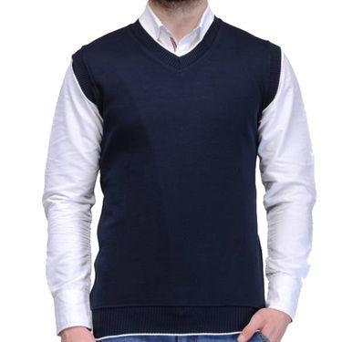Oh Fish Plain Sleeveless V Neck Sweater For Men_Snvy1 - Navy Blue