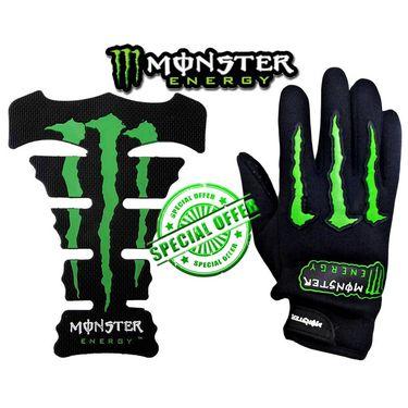 Combo of Monster Bikers Gloves & Tank Pad