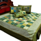 Little India Double Bedcover with 2 Cushion Cover and 2 Pillow Cover - Green- DLI3SLK351