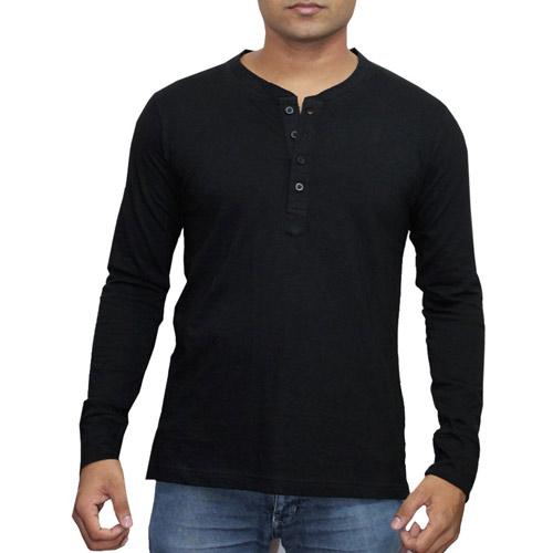 Lanosuc Henley Neck Full Sleeve T Shirt For Men 13152blk