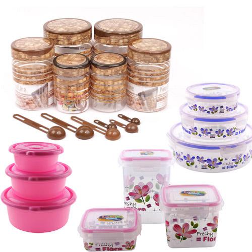 Buy set of 15 kitchen storage set online at best price in for Naaptol kitchen queen set