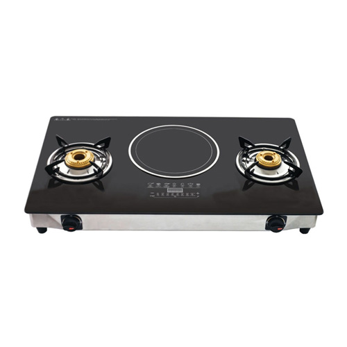 Buy Branded 2 Burner Hybrid Glass Gas Stove With Induction