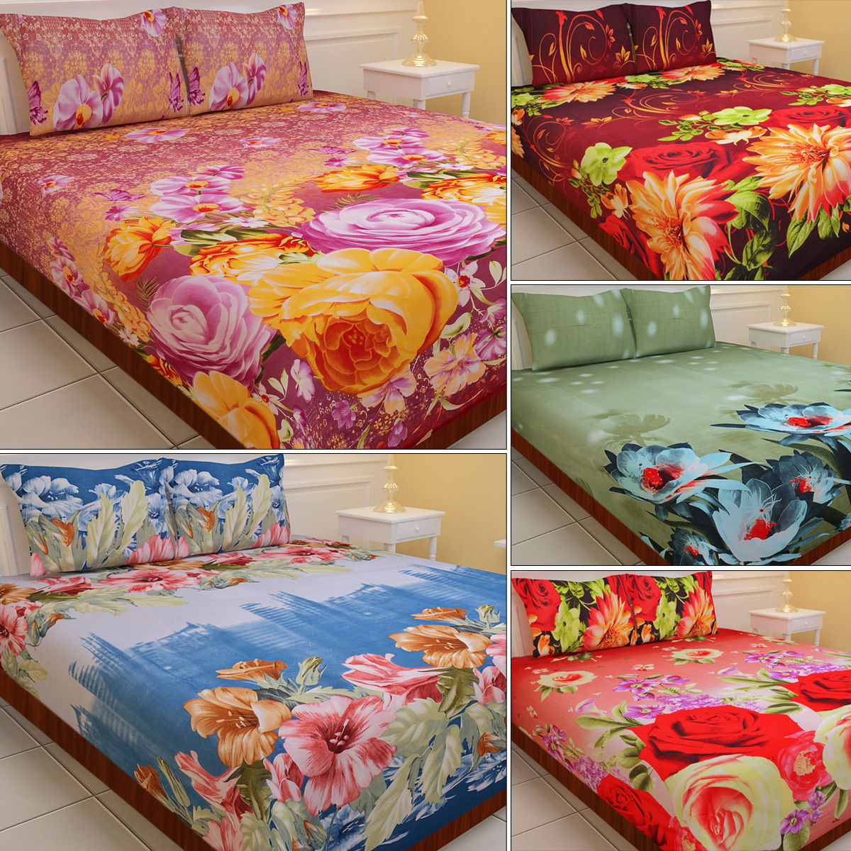Extra Soft Glamorous 5 Double Bed Sheets with 3D Prints