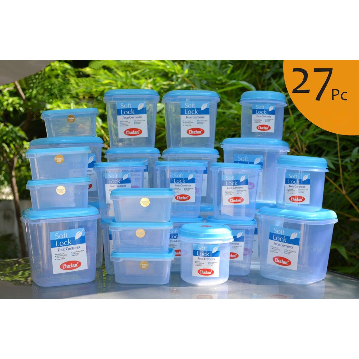 Buy chetan set of 27 pcs plastic airtight kitchen storage for Kitchen set naaptol