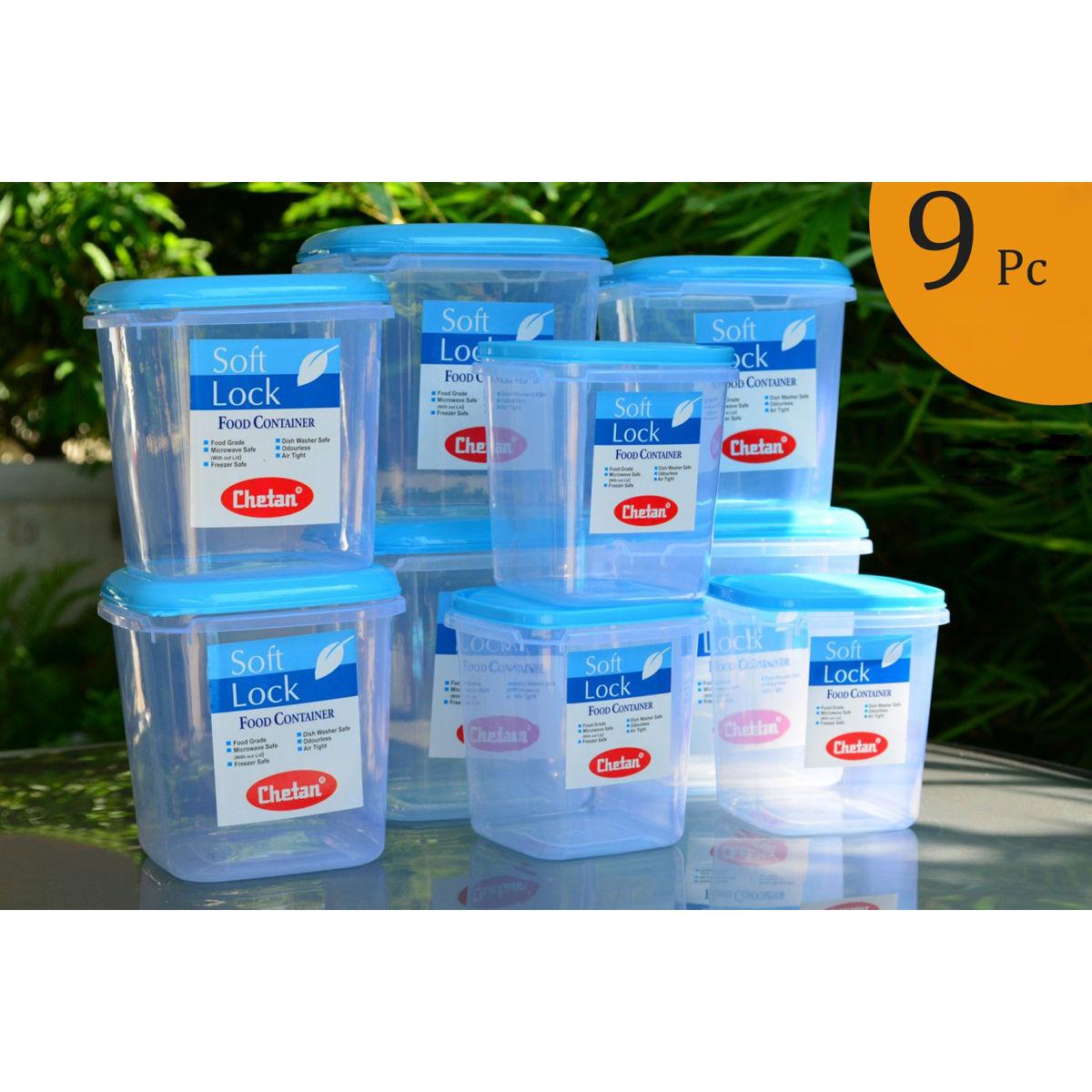 Buy chetan set of 9 pcs plastic airtight kitchen storage for Kitchen set naaptol