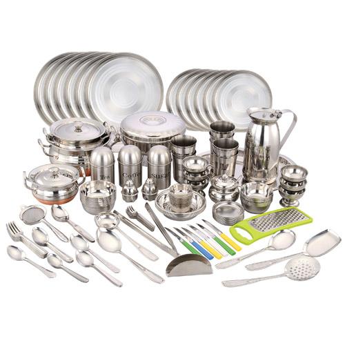 Naaptol Kitchen Set: Buy Klassic Vimal 146 Pcs Stainless Steel Dinner Set