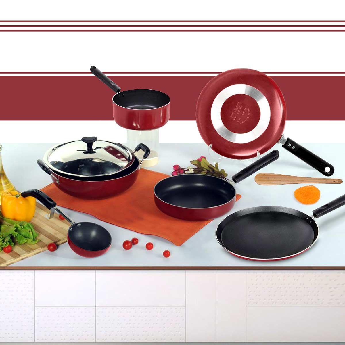Buy brilliant 7pcs nonstick cookware set online at best for Kitchen set naaptol