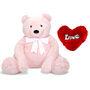 3 Feet Teddy Bear with Heart Shape Pillow - Pink