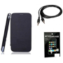 Combo of Camphor Flip Cover (Black) + Screen Guard + Aux Cable for Micromax A116