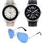 Combo of Dezine 2 Analog Watches + 1 Aviator Sunglasses_DZ-CMB104