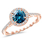 Kiara Swarovski Zirconia Sterling Silver Ring - Teal Blue