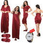 Mia 7 Pcs Satin Nightwear - Maroon