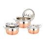 Set of 3pcs Klassic Vimal Big Boss Angel Copper Bottom Dish - Silver & Copper
